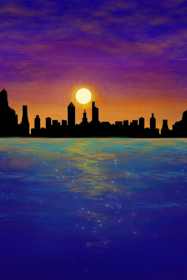 city silhouette dusk sea, Hand Painted, Illustration, Coastal illustration image