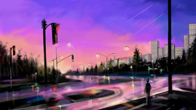 city sky street road llustration image