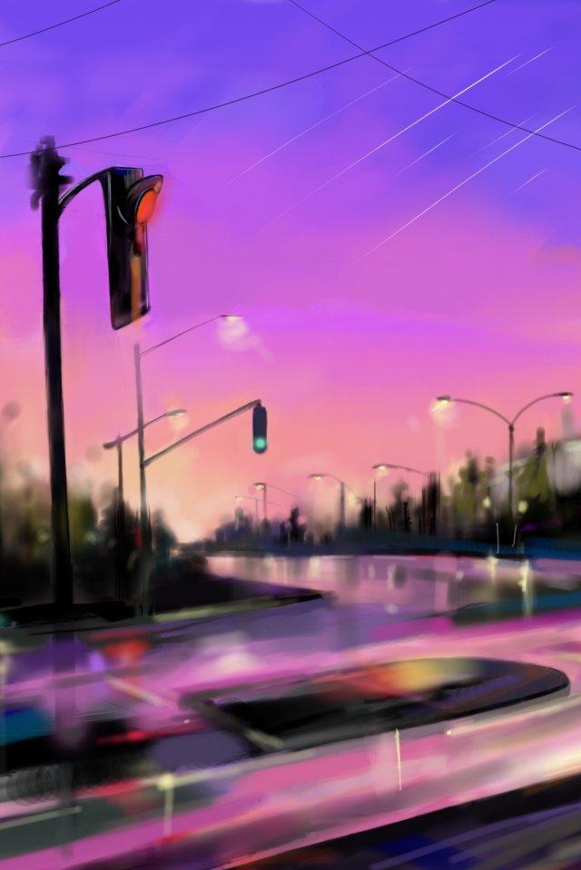 도시 하늘 길 도로 삽화 소재