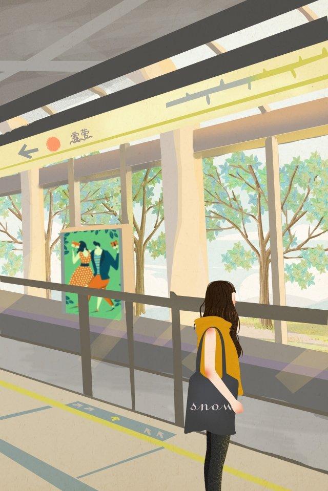 city subway subway station girl llustration image illustration image