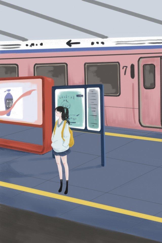 市内旅行女の子地下鉄 イラスト画像