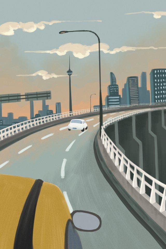 城市出行插画海报 城市 高架桥 汽车插画  出行  汽车PNG和PSD illustration image