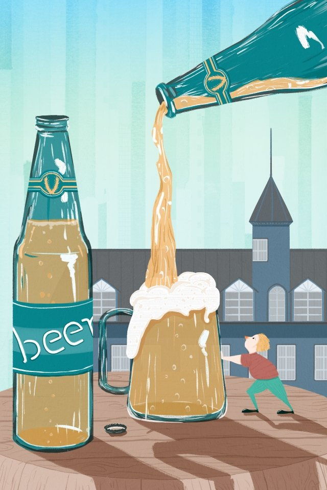 classical hand painted beer festival european and american style hand drawn llustration image