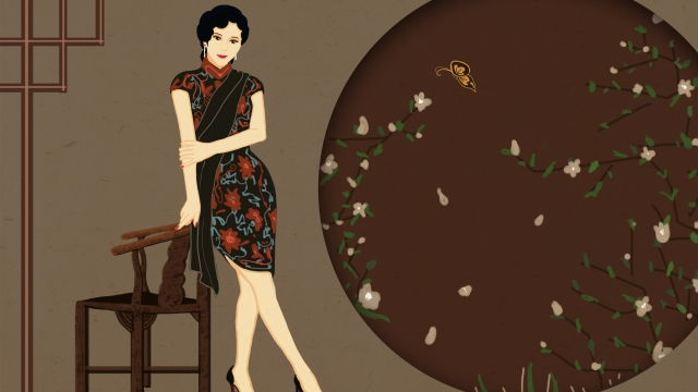 classical republic of china cheongsam series llustration image illustration image