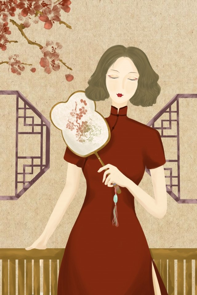 classical republic of china retro woman hand drawn illustration lightly take the fan llustration image