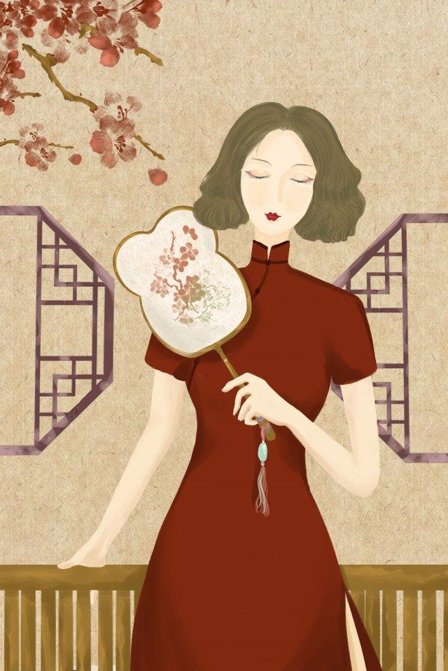 Gaya wanita negara asal tangan bergambar ilustrasi Gaya retro Republik China TanganMengambil  Kipas  Kipas PNG Dan JPA illustration image
