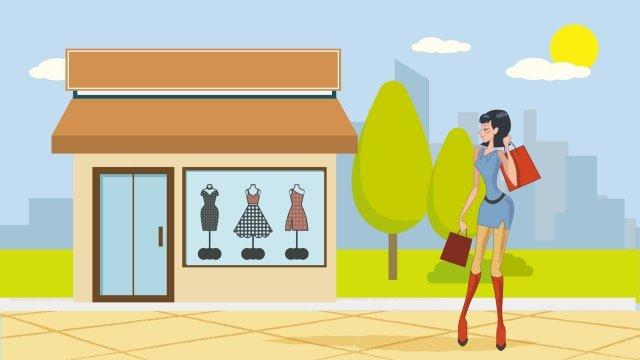 衣服嘉年華女孩的衣服 插畫素材 插畫圖片