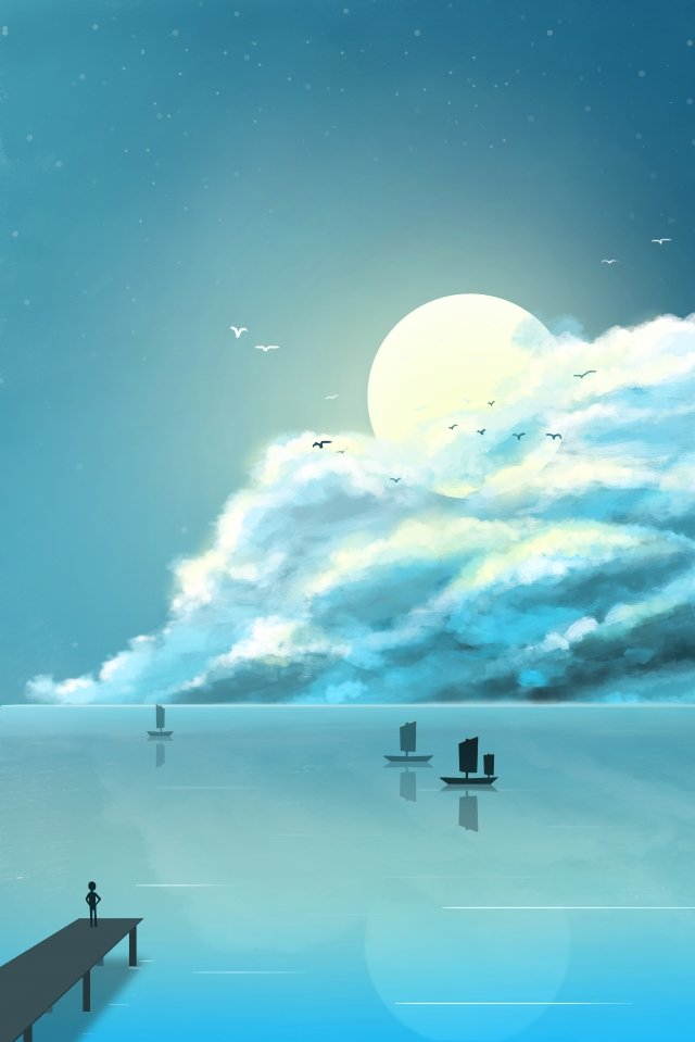 구름의 일 별이 빛나는 하늘 삽화 소재