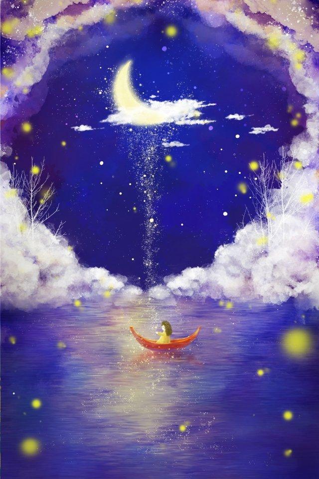 雲海ムーンボート イラスト素材