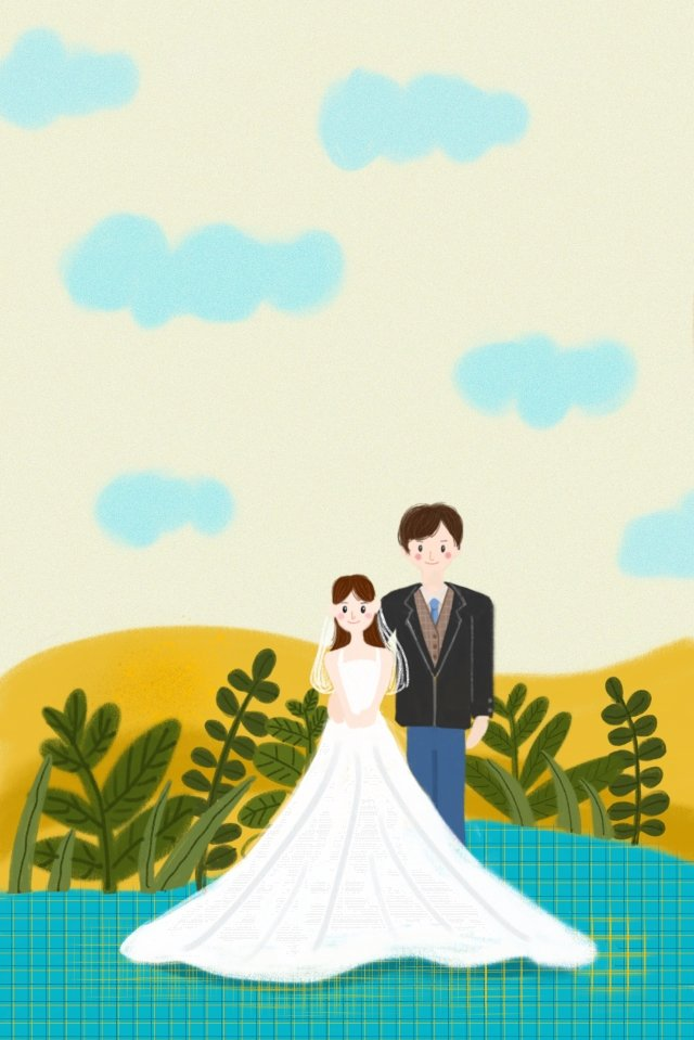cloud wedding dress marry couple llustration image