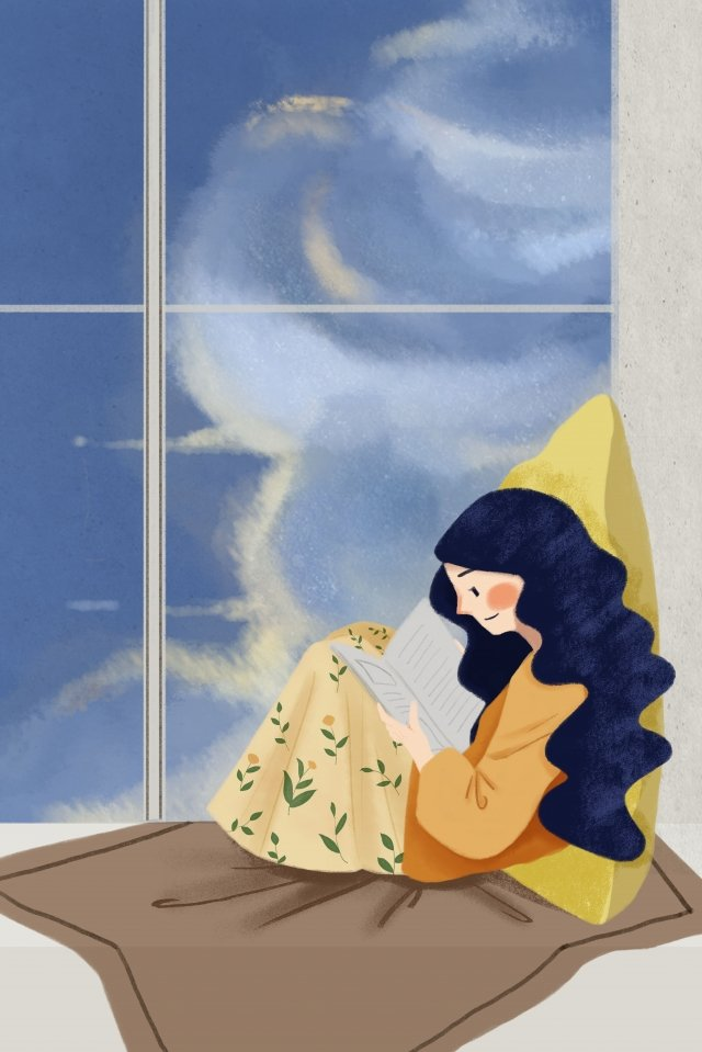 cloud window girl reading illustration image