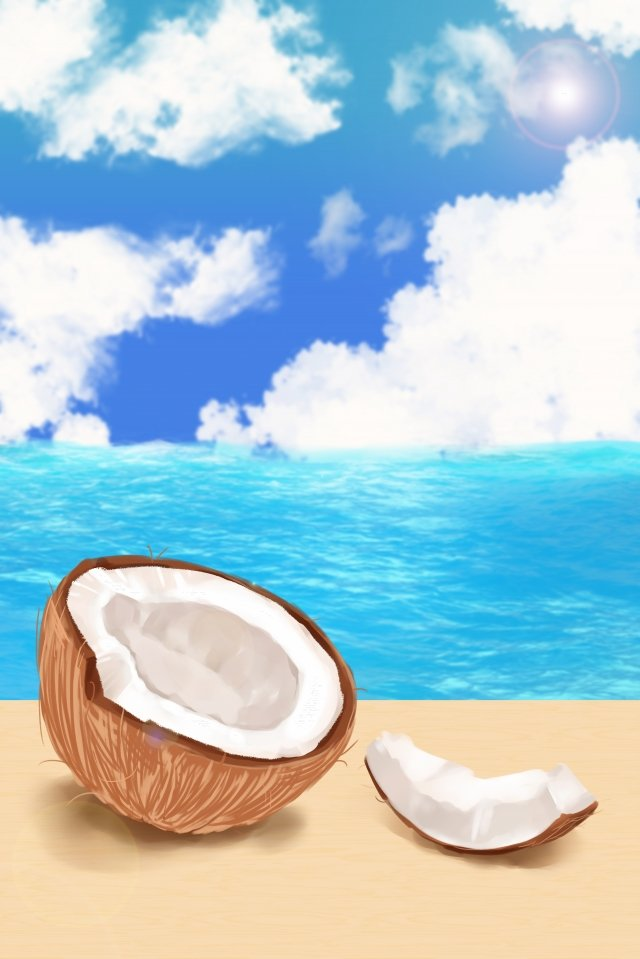 coconut fruit fresh fruits coconut, Sea, Cloud, Coconut illustration image