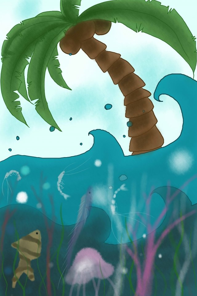 coconut tree ocean spray jellyfish, Fish, Coral, Blue Sky illustration image