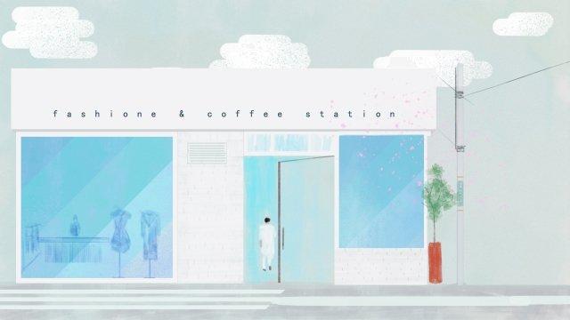커피 숍 의류점 거리 거리 삽화 소재 삽화 이미지