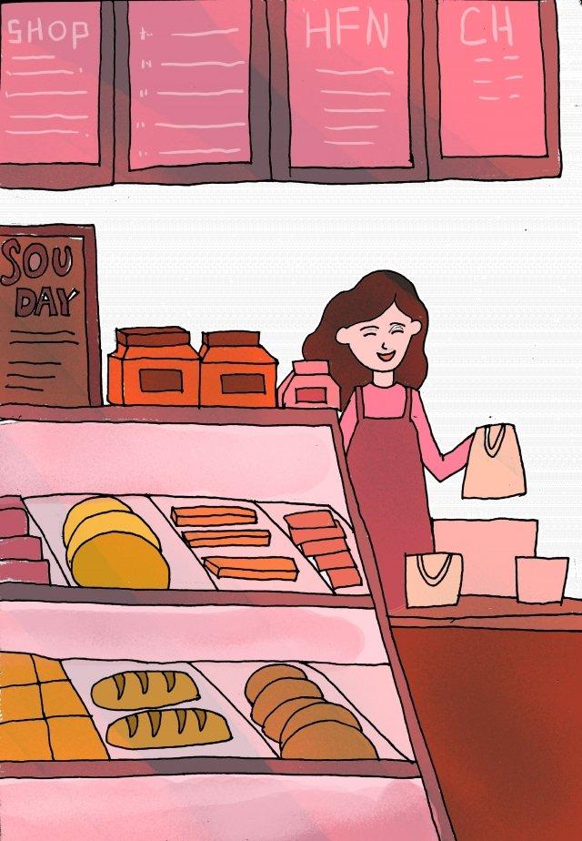 커피 숍 따뜻한 오후의 차 아름다움 삽화 소재 삽화 이미지