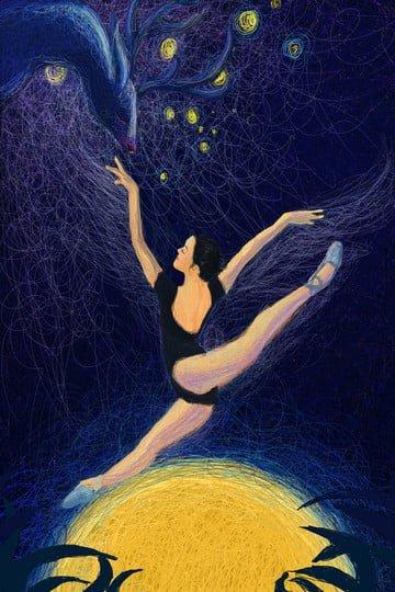 coil beautiful illustration ballet, Inspirational, Blue, Coil illustration image