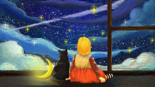 coil beautiful illustration cat, Star, Cloud, Moon illustration image