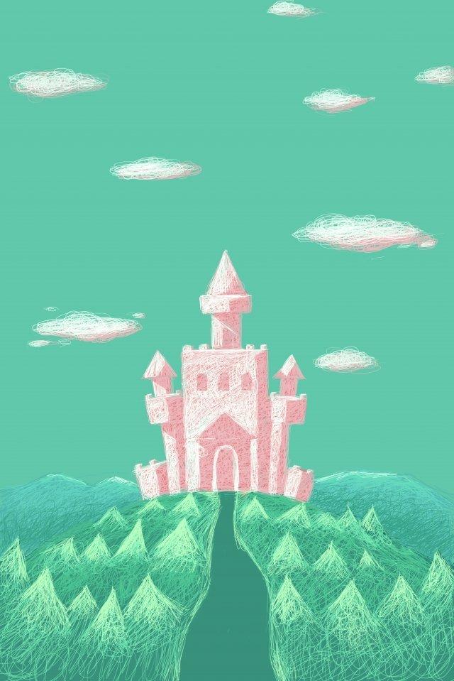 لفائف اللوحة القلعة المشهد الوردي الصور المدرجة