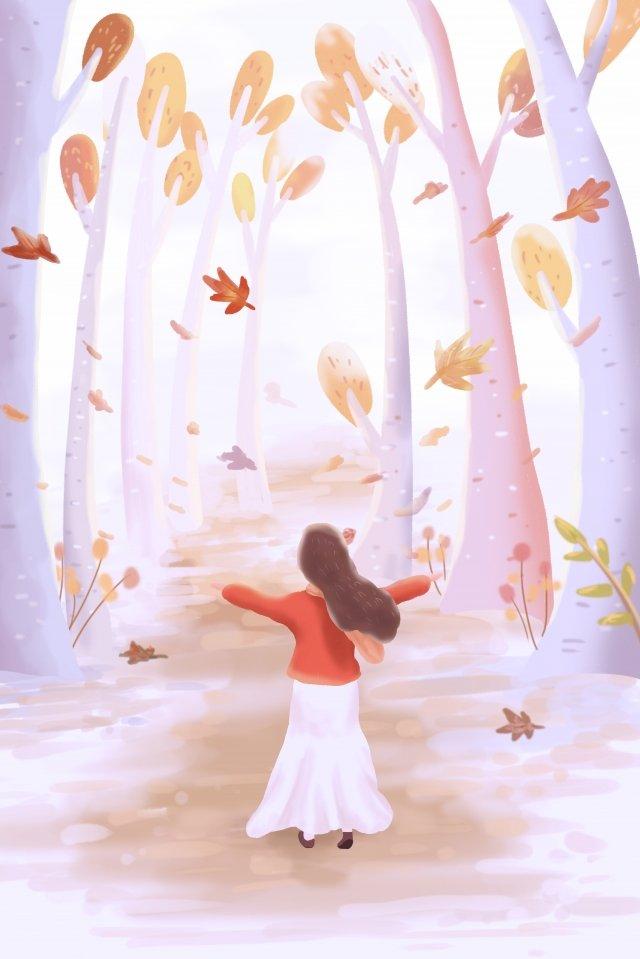 ठंड ओस गिर पत्तियों सुंदर चित्रण इनाम चित्रण छवि