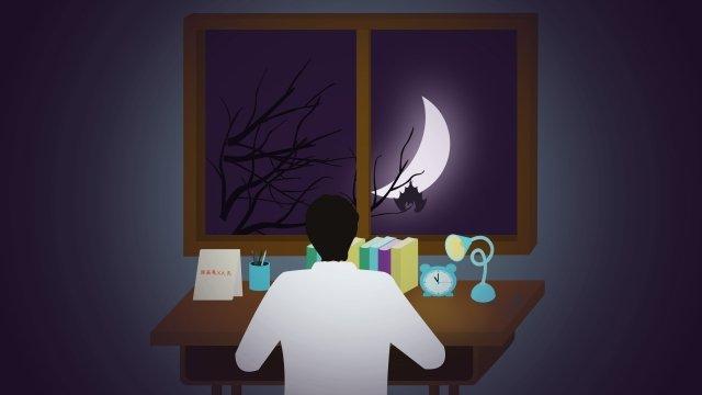 大学入試生徒高校夜 イラスト素材 イラスト画像