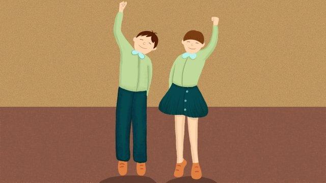 college entrance hand painted cartoon illustration, Boy, Girl, Education illustration image