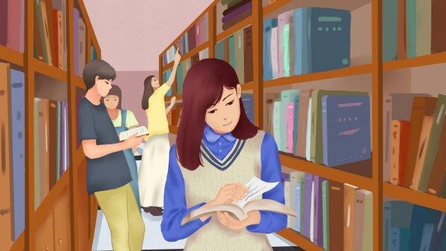 कॉलेज जीवन छात्र पुस्तकालय पुस्तक चित्रण छवि चित्रण छवि