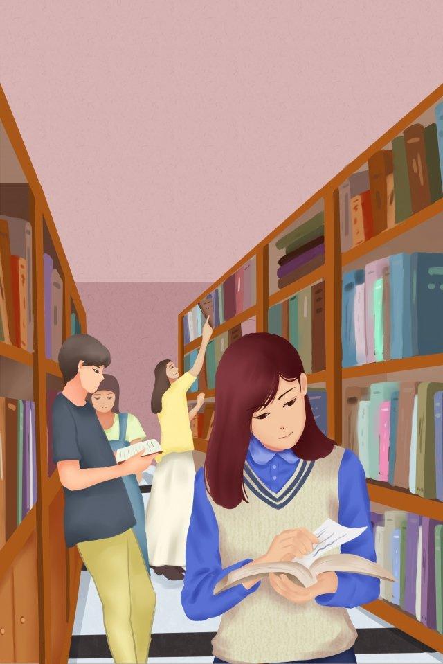 कॉलेज जीवन छात्र पुस्तकालय पुस्तक चित्रण छवि