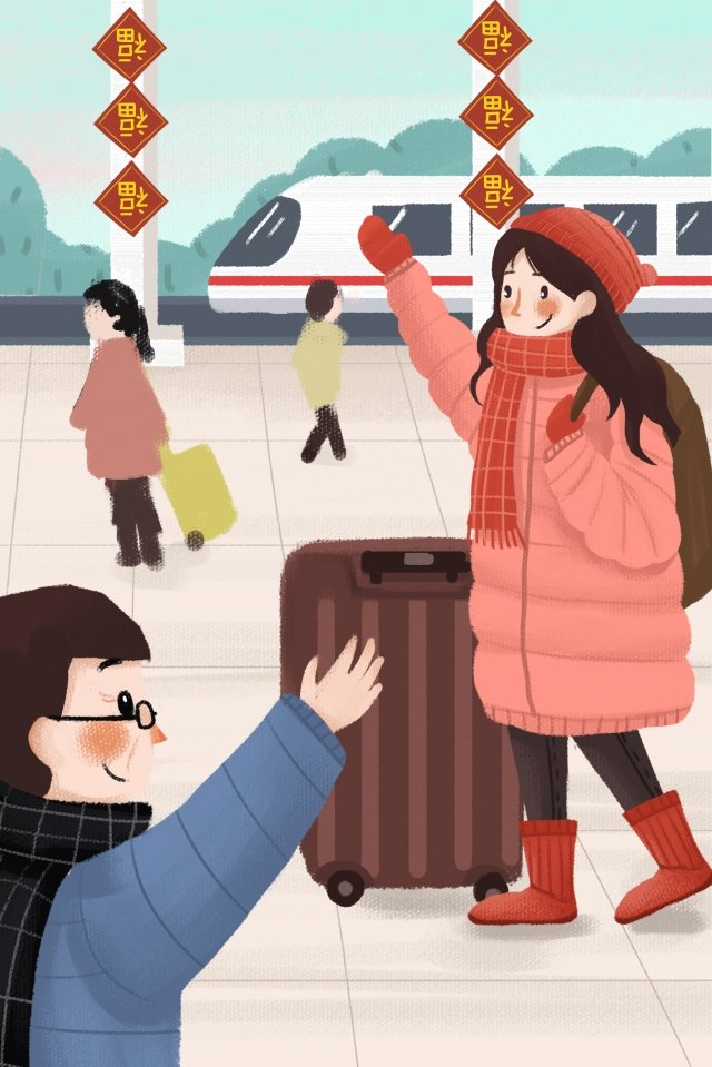 college students holiday come back home take the train llustration image