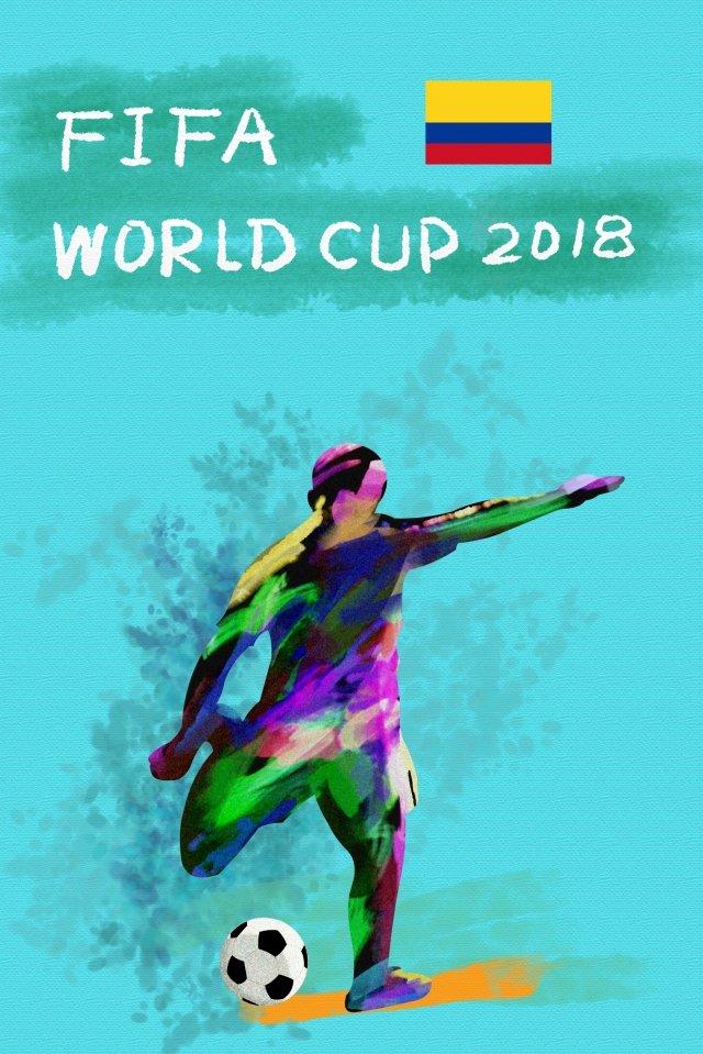 コロンビアサッカーワールドカップ2018 イラスト素材
