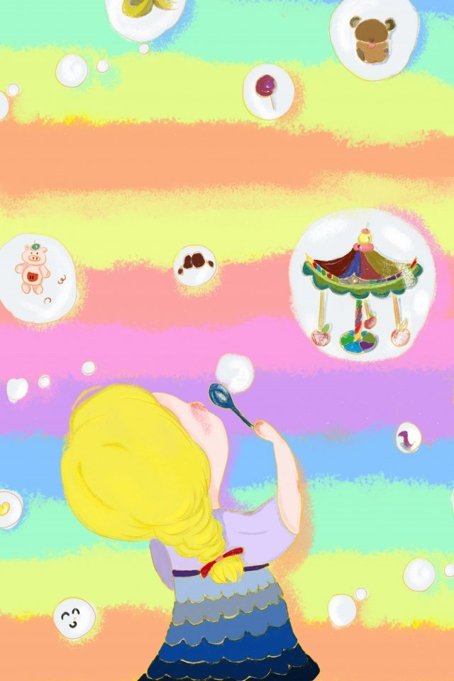 color bubble carousel going on the bus illustration image