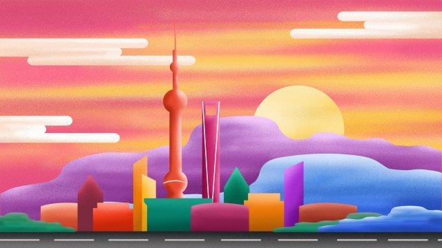 多彩的城市建築輪廓 插畫素材 插畫圖片