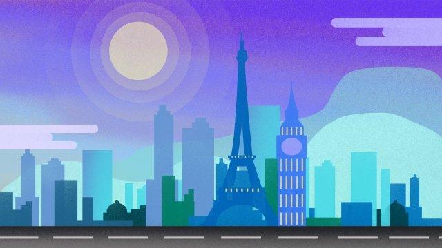 Kiến trúc đô thị hình bóng sáng sớm gradient minh họa Đầy màu sắc ThànhChính  Cột  Tokyo PNG Và PSD illustration image