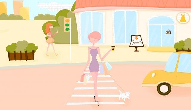 집에 돌아와서 소녀 쇼핑 강아지 삽화 소재 삽화 이미지