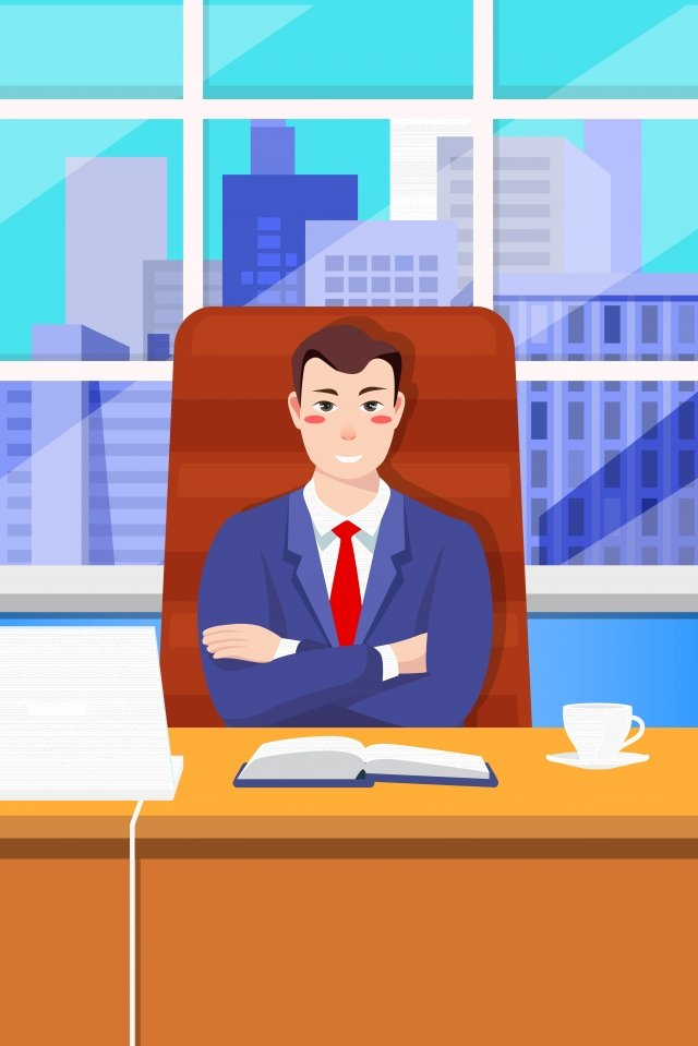 computer workplace office business, Character Image, Business Man, Office Worker illustration image