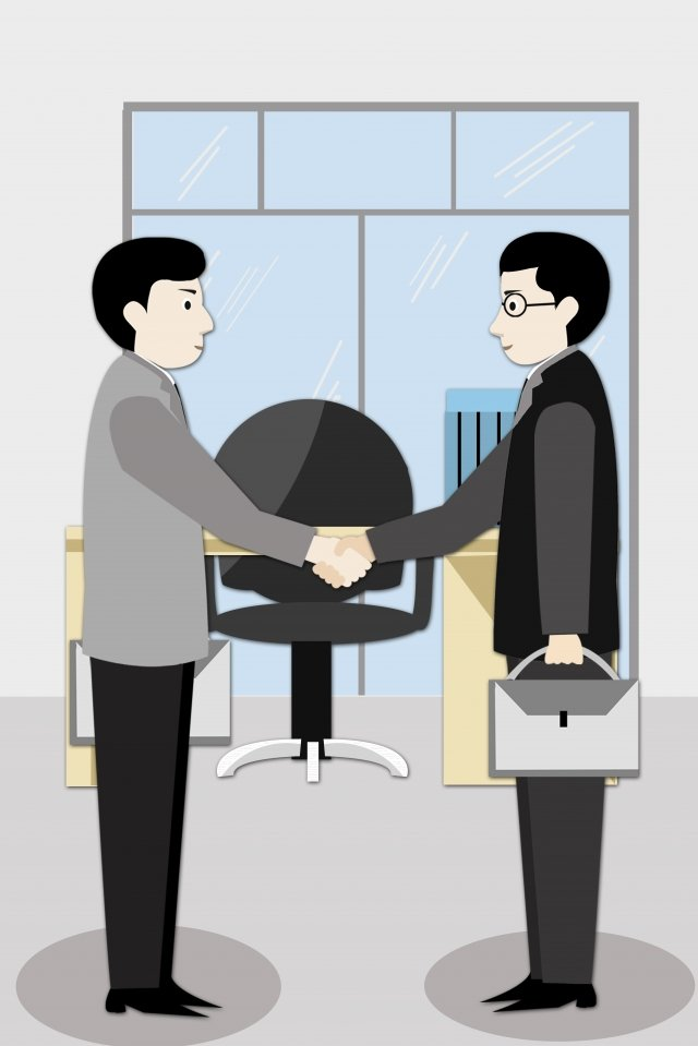 concise business cooperation office, Handshake, Man, Gray illustration image