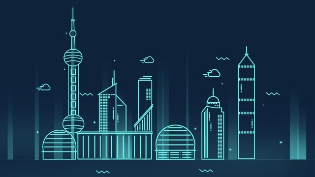 concise cartoon city landmark building, Shanghai, Pearl Of The Orient, Shanghai Night View illustration image