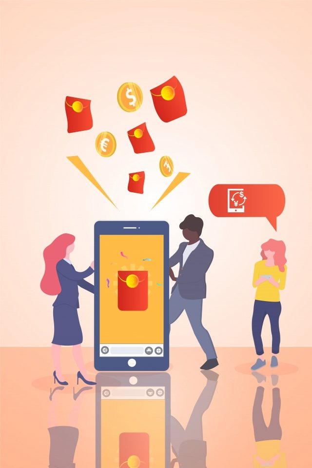 consumption promotion red envelopes gold, Currency, Welfare, Mobile Phone illustration image