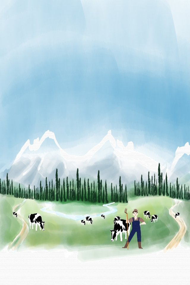 新疆天山牛海報背景農村牧場新疆 插畫圖片