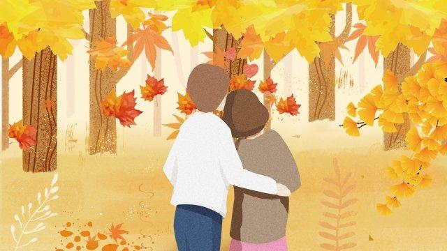 couple boy girl fall, Fallen Leaves, Maple Leaf, Yellow illustration image