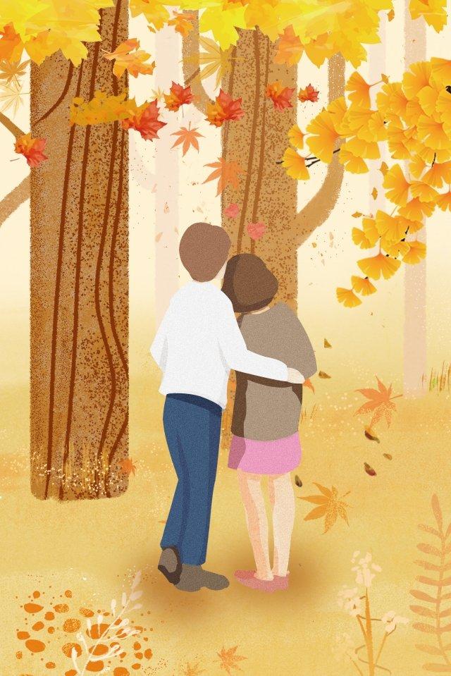 couple boy girl fall, Yellow, Fallen Leaves, Maple Leaf illustration image