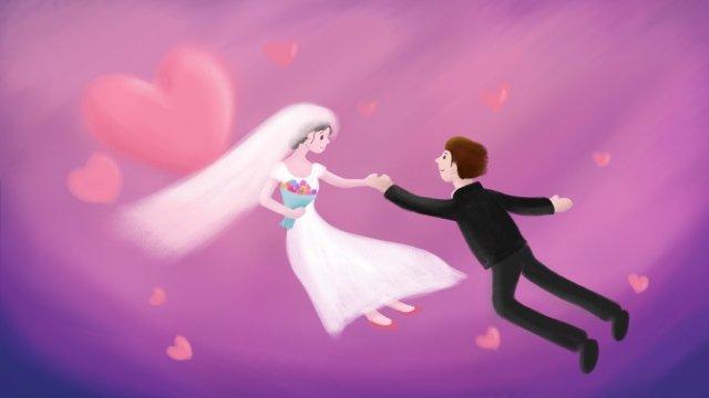 커플 신랑 신부 사랑 삽화 소재