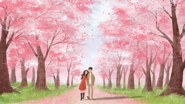 couple cure pink cherry blossoms, Romantic, Landscape, Healing illustration image