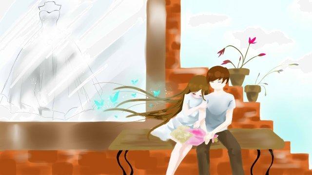 커플 신선한 결혼 사랑 삽화 소재 삽화 이미지