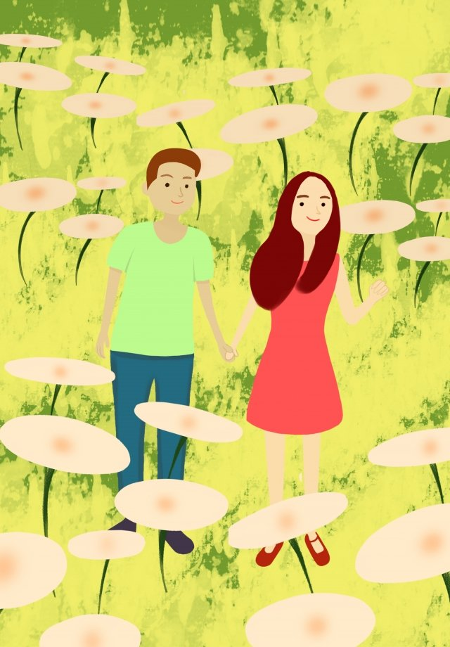 couple hand drawn illustration boy girl, Grassland, Beautiful, Literary illustration image