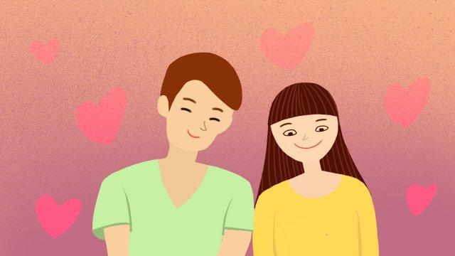 couple hand drawn illustration boy girl, Beautiful, Literary, Literary Series illustration image