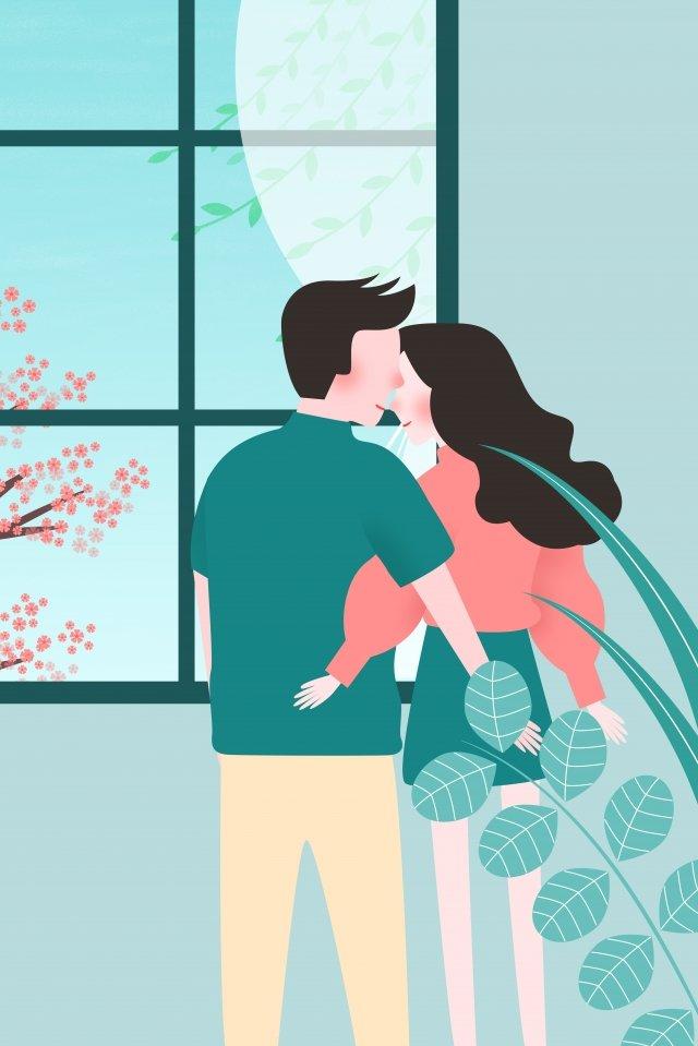 カップルは美しい甘い愛 イラスト素材