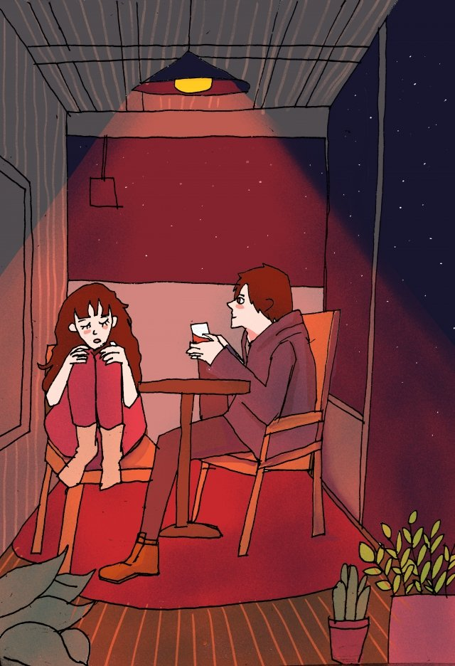 couple love candlelight dinner romantic llustration image