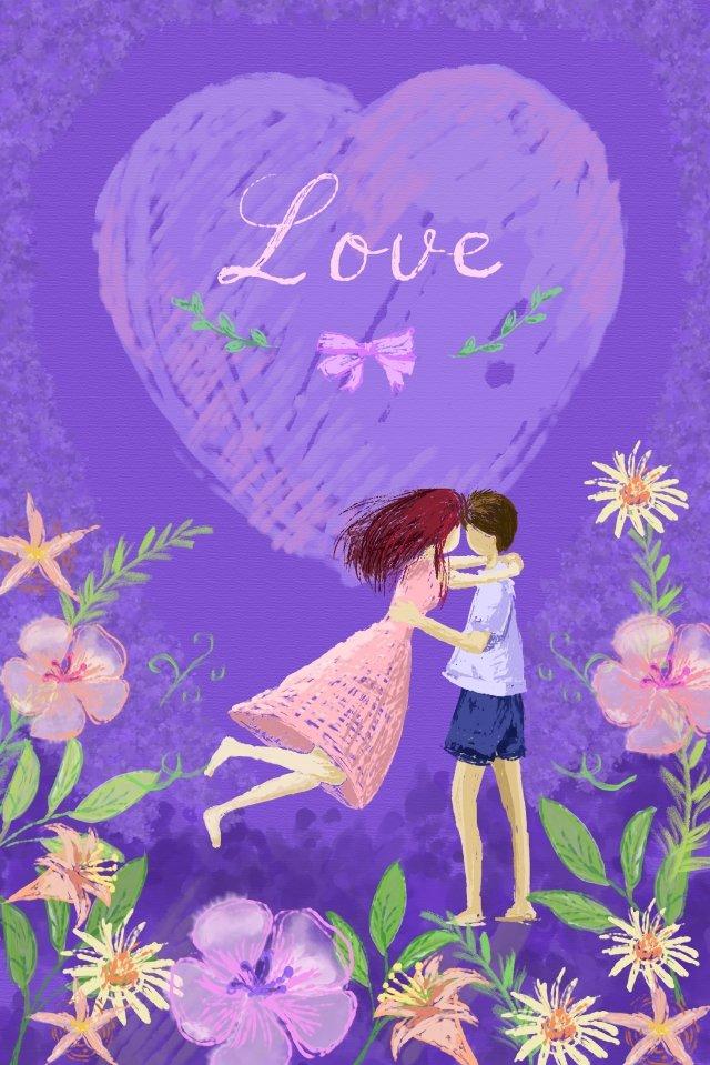 カップル愛抱擁手描き イラスト素材