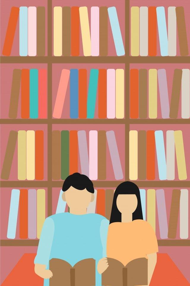 cặp sách tình yêu thư viện Hình minh họa