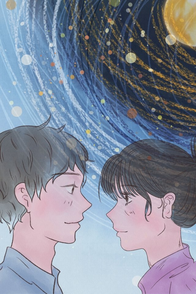 couple moon starry sky little couple, Youth, Cure, In Love illustration image
